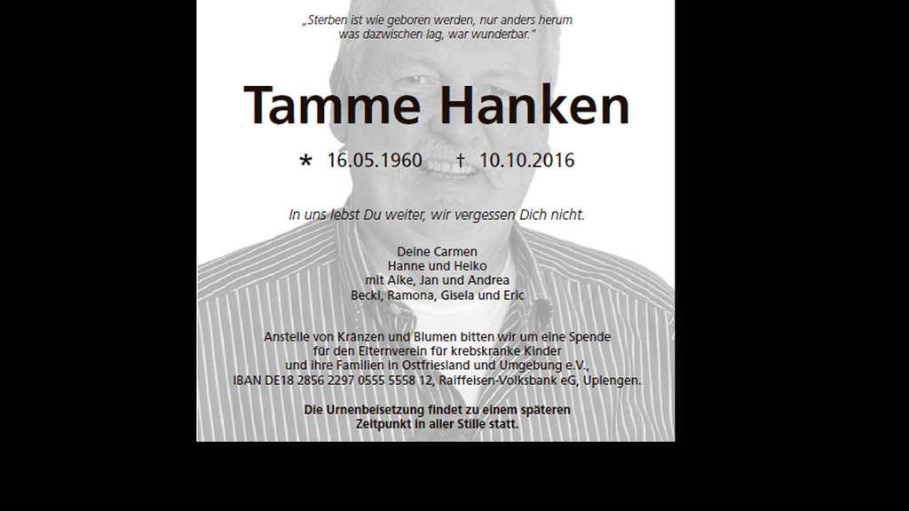 Trauerfeier von Tamme Hanken: So wird er beigesetzt