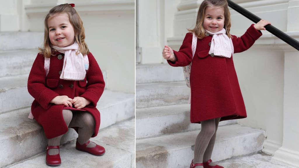 Hurra! Prinzessin Charlotte tapst zum Kindergarten