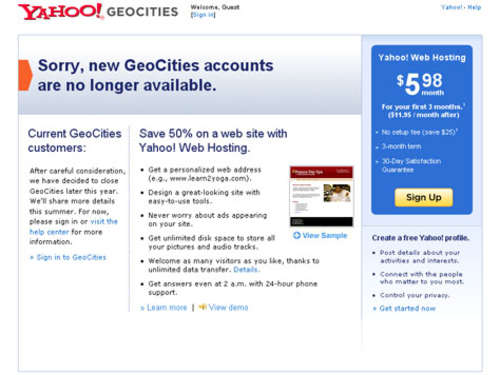 "Yahoo schließt ""GeoCities"""