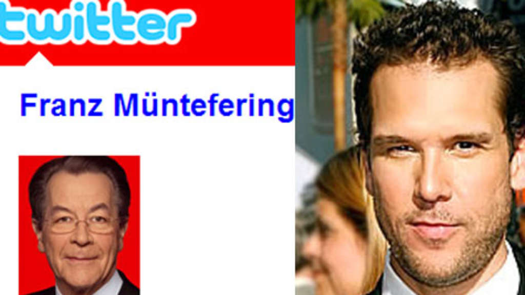 Franz Münteferings Fake-Twitter-Account und Comedian Dane Cook.