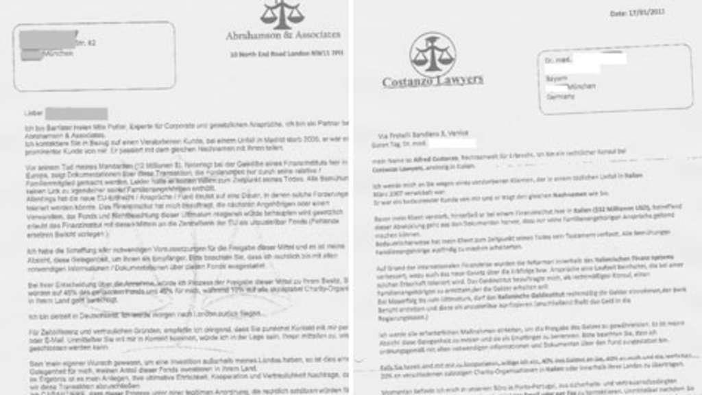 millionen abzocke mit falschem erbe - Anschreiben Rechtsanwalt