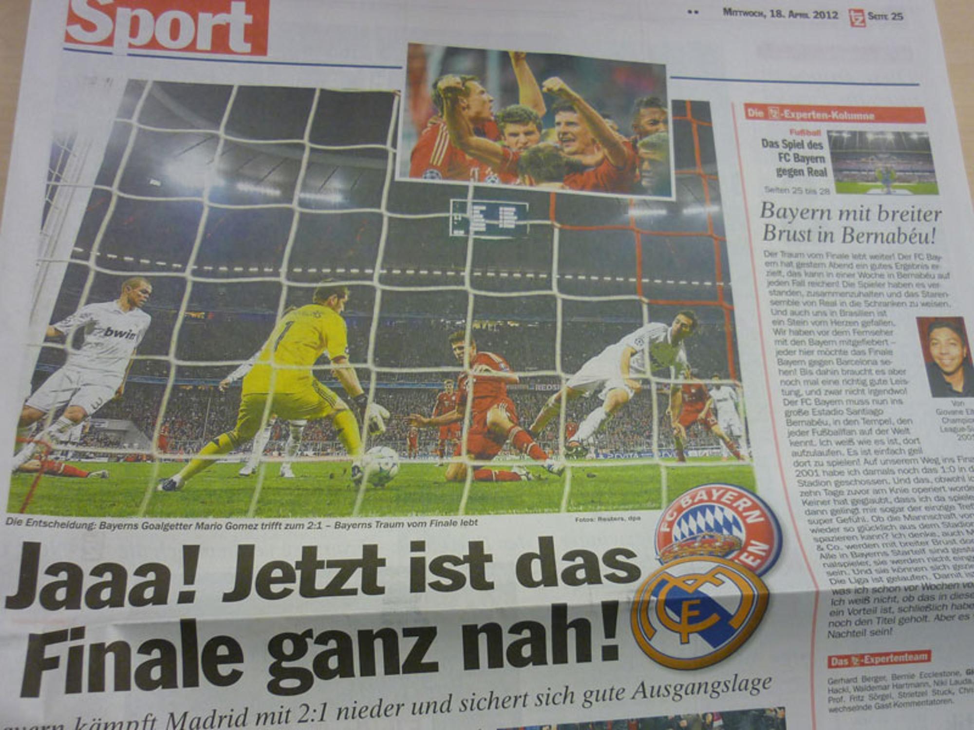 Mario Gomez nach seinem Tor gegen Real Madrid: \