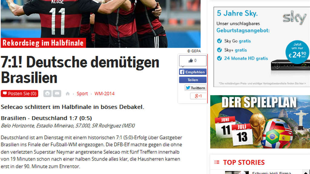 wm spiel brasilien gegen deutschland