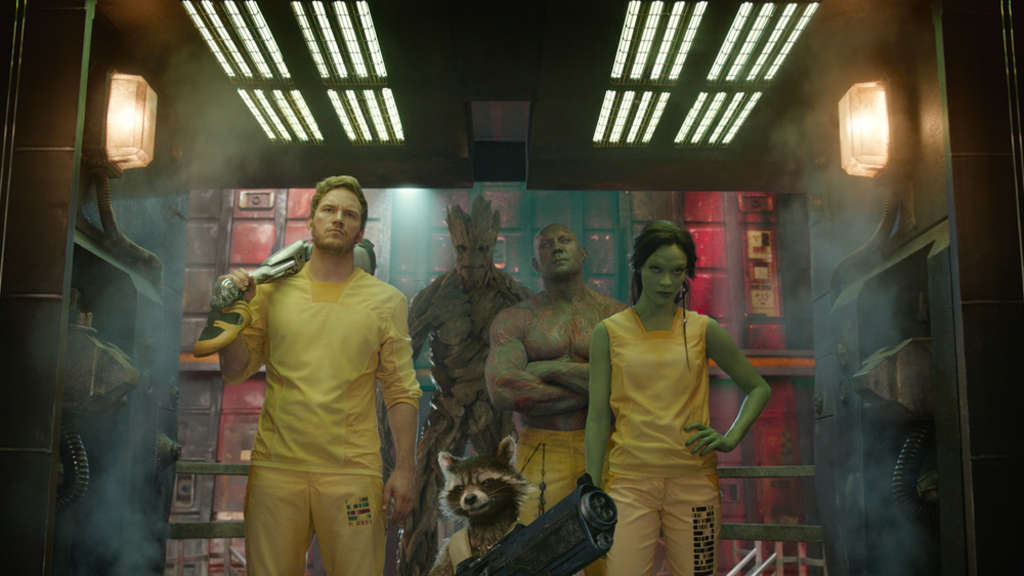 So sehen (Anti-)Helden aus: Peter Quill (Chris Pratt), Killerin Gamora (Zoe Saldana), Drax (Dave Bautista), Groot und Rocket