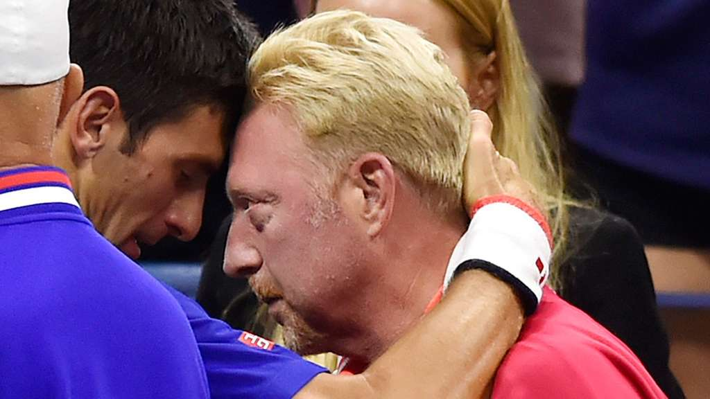Boris Becker (r.) mit Novak Djokovic