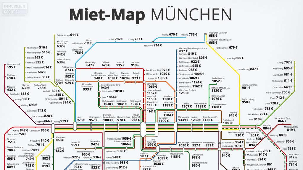 Karte München Stadtteile.U Bahn Karte Zeigt Mietpreise Für München Wohnen