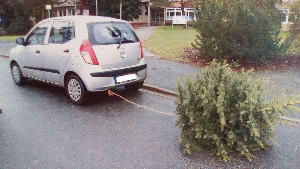 Auto Weihnachtsbaum.Polizei Stoppt Kuriosen Weihnachtsbaum Transport Auto