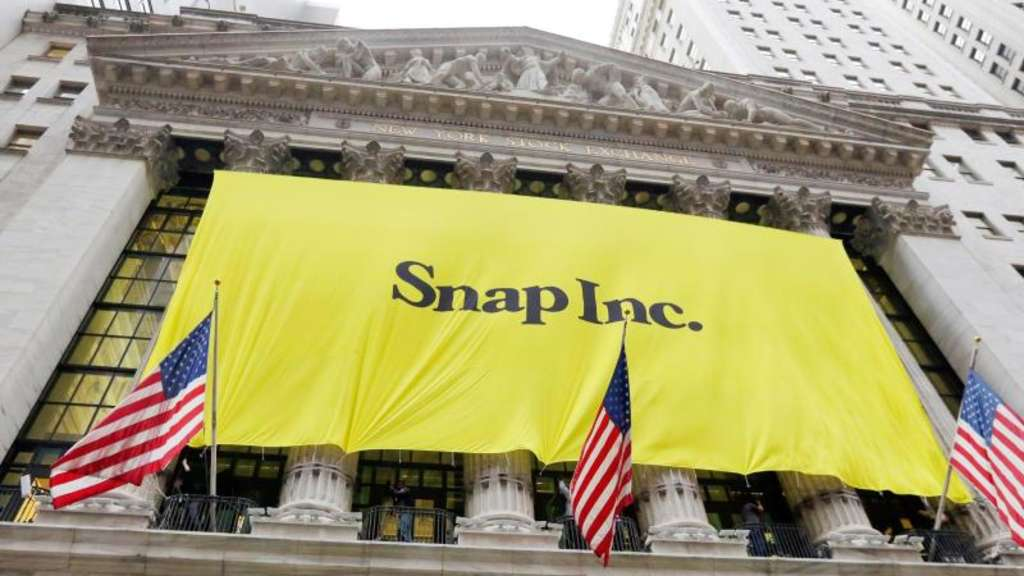 Transparent der Snapchat-Mutter Snap an der New Yorker Börse. Foto: Richard Drew