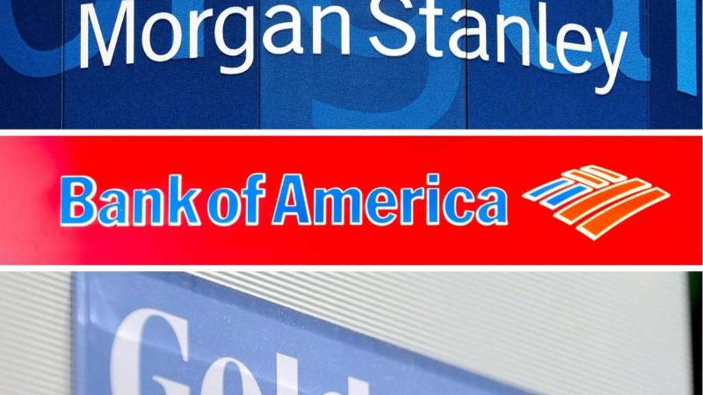 Die Logos der US-Investmentbanken JP Morgan, Citigroup, Morgan Stanley, Bank of America und Goldman Sachs Foto: Archivfotos