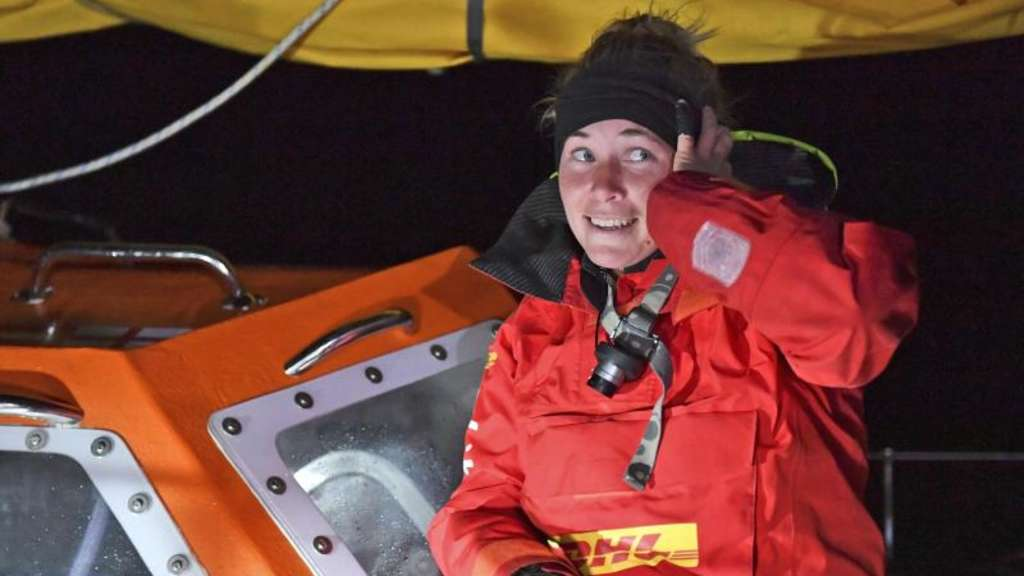 Susie Goodall Ende Oktober bei ihrer Ankunft in Hobart. Foto: Christophe Favreau/PPL Photo Agency/Golden Globe Race